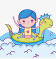 cute girl in the dinosaur float and swimsuit vector image vector image