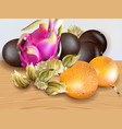 exotic fruits realistic dragon fruit vector image vector image