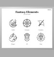 fantasy icons line pack vector image