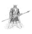 fantasy knight or warrior with armor and spear vector image
