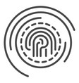fingerprint security icon outline style vector image