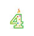 four years anniversary 4 number shaped birthday vector image vector image