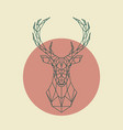 geometric green head of deer wild animal vector image vector image