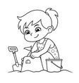 girl making sand castle bw vector image vector image