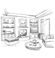 Hand drawn room interior Furniture sketch vector image vector image