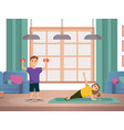 happy child doing morning fitness exercises home vector image vector image
