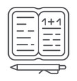 homework thin line icon paper and school vector image vector image