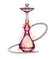 hookah with hatching pink vector image