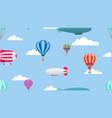 hot air balloons cartoon air transport pattern vector image vector image