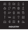 industry editable line icons set on black vector image vector image