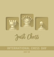 international chess day card chess pieces vector image vector image