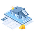 isometric buying dream house concept real estate vector image vector image