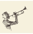 Jazz poster Man playing trumpet drawn sketch vector image vector image