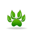 leaf green paws icon vector image vector image