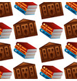library pile books and school building pattern vector image vector image