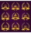 Luxury gold labels with laurel wreath vector image vector image