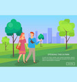 man and woman walking in urban park dating vector image vector image