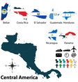 Maps with flags of Central America