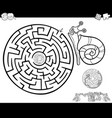 maze with snail for coloring vector image vector image