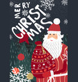 merry christmas greeting with santa claus greeting vector image vector image