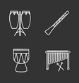 musical instruments chalk icons set vector image