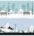 park and countryside in winter snowy landscape vector image vector image