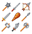 Pixel weapons for games icons set vector image