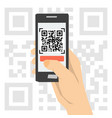 qr code scanning - hand with phone vector image