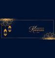 ramadan kareem or eid mubarak golden banner design vector image vector image