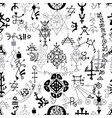 seamless pattern with black and white symbols vector image vector image