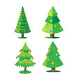 set christmas trees decorated with christmas vector image vector image