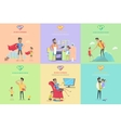 Set of Fatherhood Theme Concept vector image