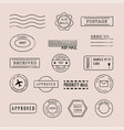 set postage stamps collection vector image