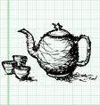 sketch drawing of teapot with cup graph paper vector image vector image