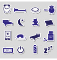 sleeping time blue stickers symbols set eps10 vector image vector image