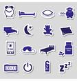 sleeping time blue stickers symbols set eps10 vector image