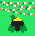 st patricks day flags pot of gold and clover vector image vector image