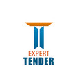 t letter icon for expert tender company vector image vector image
