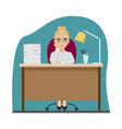 tired girl at work at office table office vector image vector image