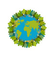 trees and earth planet and forest earthly nature vector image vector image
