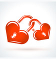 two heart shaped locks st valentines day design vector image vector image