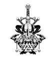 viking skull sword axe vector image