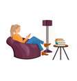 woman with a smartphone on sofa flat vector image vector image