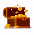 wooden treasure chest full of golden coins vector image