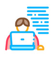 writer laptop icon outline vector image vector image