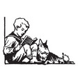 young boy sitting with dog reading grass vintage vector image vector image
