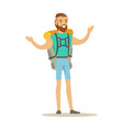 young man traveler standing with backpack summer vector image vector image