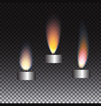 realistic candle flame set on transparent vector image