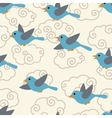 Seamless pattern with cute cartoon birds in the vector image