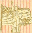 Sketch USA flag and Statue of Liberty vector image